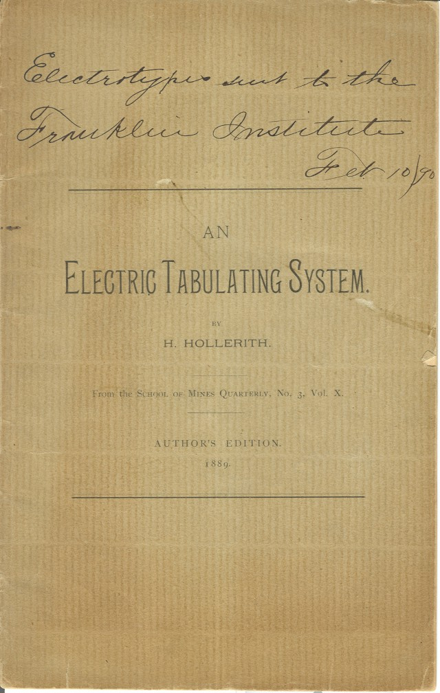 Front cover of the author's edition of the <i>Electric Tabulating System</i>