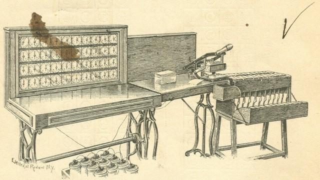 A drawing of he entire System with the tabulator, card reader & sorter as shown in the author's edition of the <i>Electric Tabulating System</i>