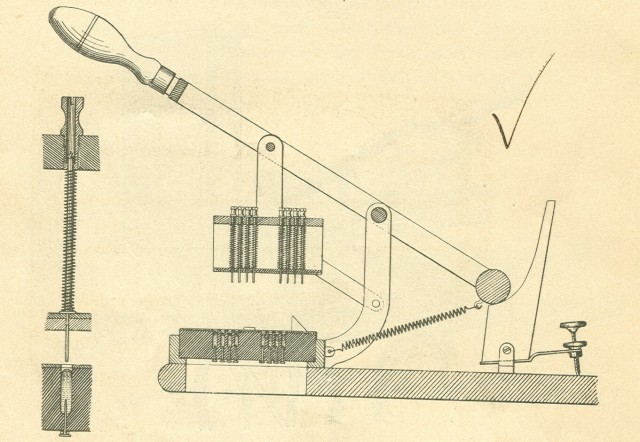 A schematic drawing of the card reader as shown in the author's edition of the <i>Electric Tabulating System</i>.  Pulling down on the handle would allow the pins to drop through any holes in the card.  The   drawing on the left shows a pin dropping.