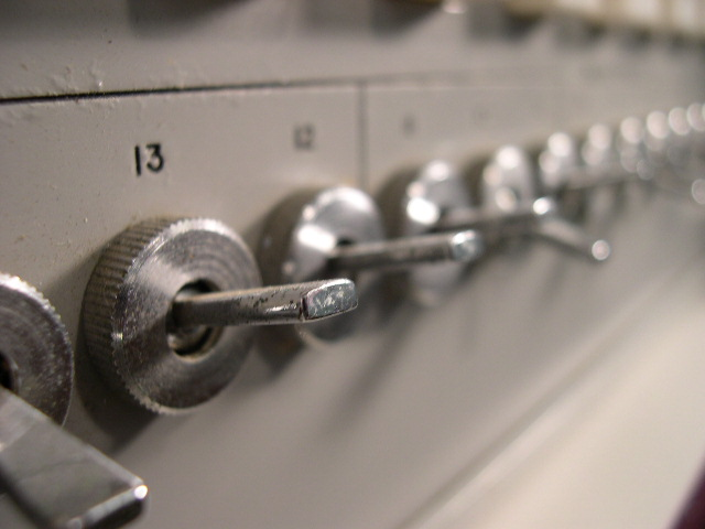 Knobs on the front of the unit.