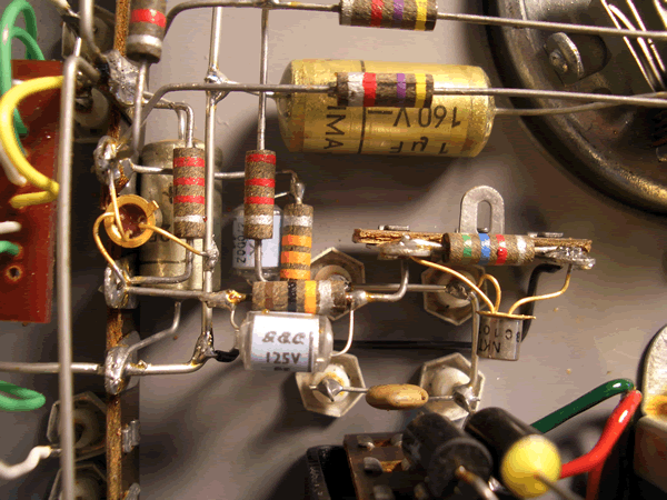 A few pretty resistors and diodes.