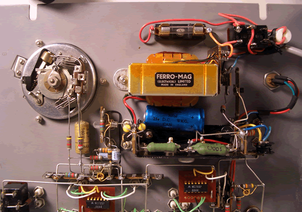 Closeup of transformer and surrounding components.