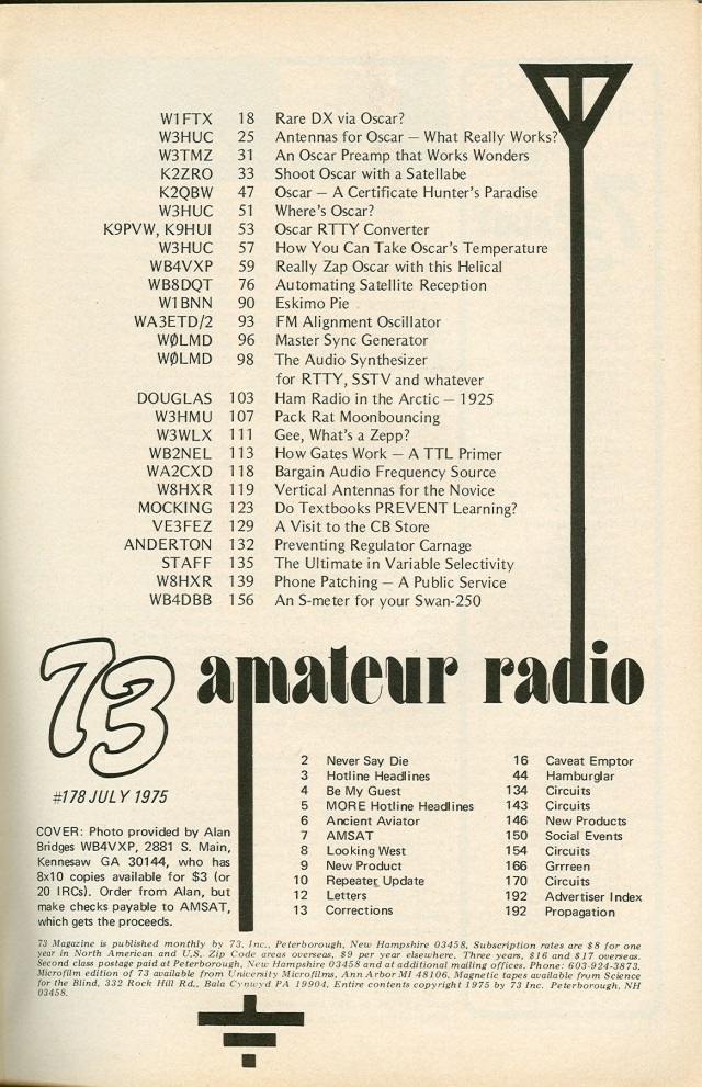 Table of Contents for Jul;y 1975 issue.