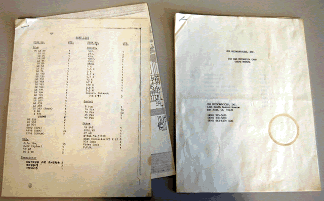 Photo of included documents.